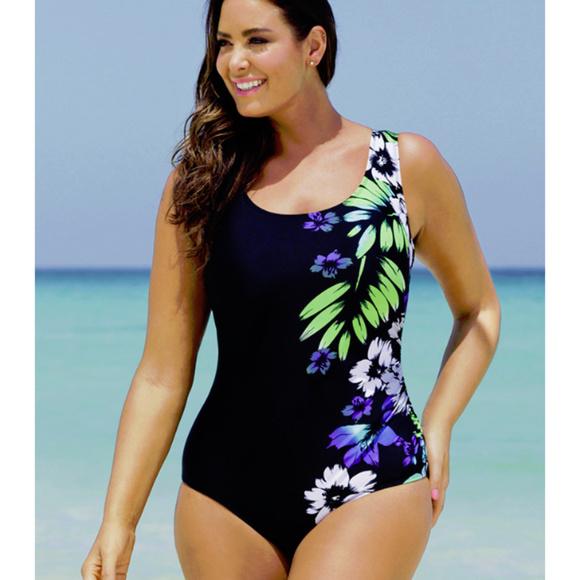 c5bf53f2484db Beach Belle Swim | Black Floral Bathing Suit Size 12 | Poshmark